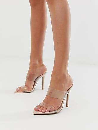 Qupid Qupid clear stiletto heeled sandals - Beige