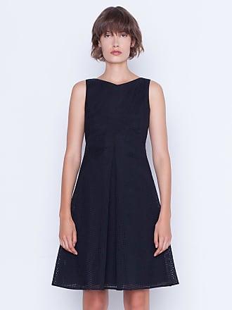 Akris A-line dress in cotton square ajouré