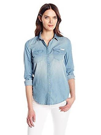 Calvin Klein Womens Long Sleeve Denim Edge Western Button Down Shirt, Parker Mid, LARGE