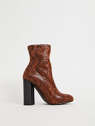 Asos Eliza - Stivaletti a calza effetto pelle di serpente con tacco -  Arancione 2a8b26c8331