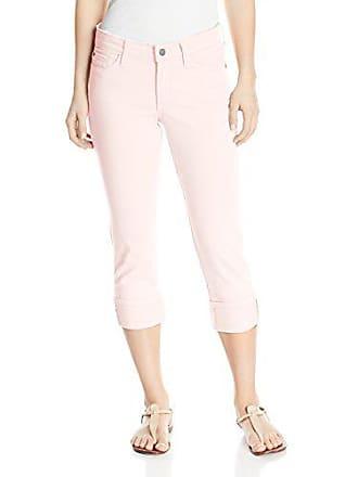NYDJ Womens Petite Size Dayla Wide Cuff Capri Jeans in Colored Bull Denim, Pink Chiffon 14P