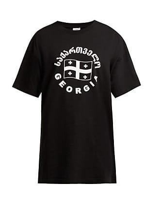 VETEMENTS Flag Print Cotton T Shirt - Womens - Black Multi