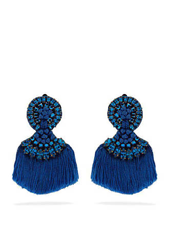 Etro Crystal Embellished Fringed Clip Earrings - Womens - Blue