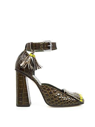3750e364e8c Suno Crocodile Ankle Strap High Heels Brown Croc With Olive