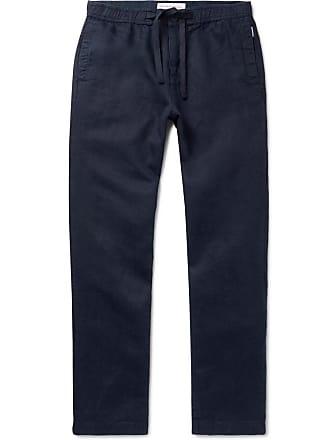 Orlebar Brown Navy Wide-leg Linen Drawstring Trousers - Navy
