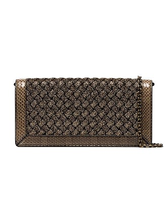 60d5a6f6c13cb Bottega Veneta metallic weave foldover clutch bag - Gold