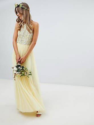 Maya halterneck delicate sequin detail tulle maxi dress in lemon - Yellow