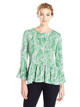 Lark & Ro Womens Three Quarter Sleeve Ruffle Hem Top, Green Leaves, X-Small