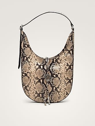 MASSIMO DUTTI SNAKESKIN-EFFECT LEATHER SHOULDER BAG WITH METAL APPLIQUÉ