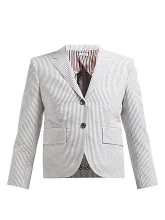 Thom Browne Striped Single Breasted Cotton Blazer - Womens - White Multi