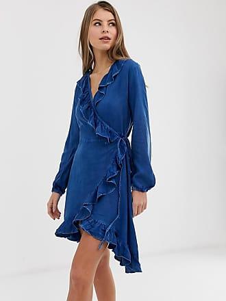 Qed London Vestito di jeans blu medio slavato con volant sul davanti - Blu 8e14214c3d9
