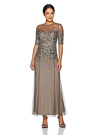 Adrianna Papell Womens Beaded Illusion Gown with Sweetheart Neckline Petite, Lead, 6P