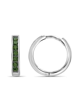 JewelersClub JewelersClub 1/2 Carat T.W. Green Diamond Sterling Silver Hoop Earrings