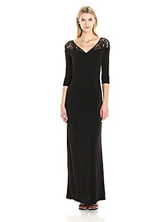 0eda50430b1a86 Sangria Womens 3 4 Sleeve Gown with Side Broquade and Shoulder Lace Detail