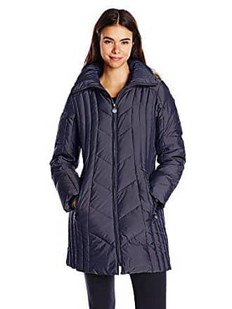 837c8e399 Anne Klein Womens 35 Inch Chevron Down Coat with Faux Fur Trim Hood, Navy,