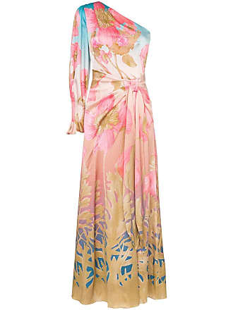 Peter Pilotto Vestido longo de seda floral - Sky Poppy