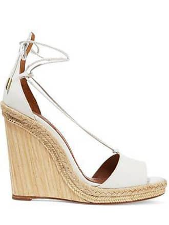 b2a17c8fb446 Aquazzura Aquazzura Woman Alexa Jute-trimmed Leather Wedge Sandals White  Size 40