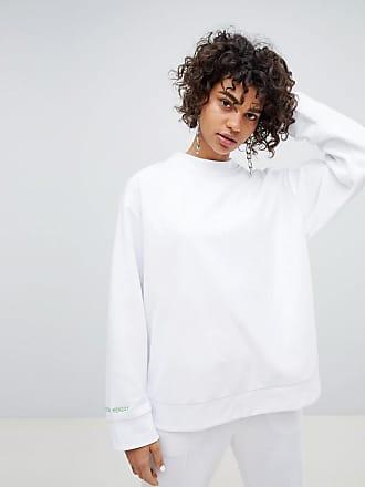 Cheap Monday Green Zip through Back Sweatshirt - White