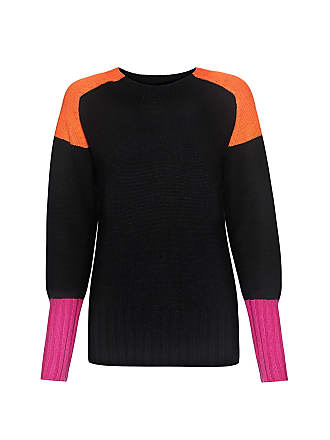 Chinti and Parker Color-block Cashmere Sweater Black/mandarin/fuchsia