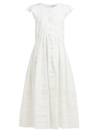 Red Valentino Redvalentino - Cap Sleeve Broderie Anglaise Cotton Midi Dress - Womens - White