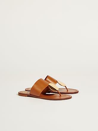 3a4acad304404f Tory Burch Leder-Sandale Patos Disk mit goldfarbenem Detail Braun Gold