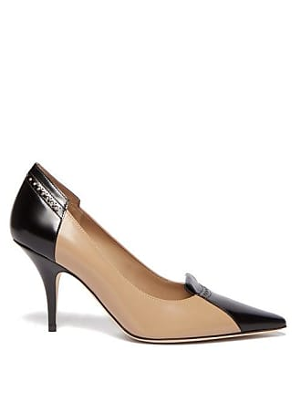 c645d4dcdb Burberry Eldmon Brogue Style Two Tone Leather Pumps - Womens - Black Beige