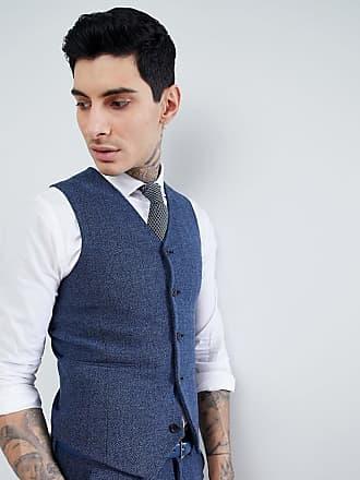 Asos Chaleco de traje muy ajustado en espiga azul petróleo de ASOS DESIGN  Wedding 52dc565cccf
