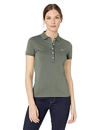 f02a14b6ed Lacoste Womens Classic Short Sleeve Slim FIT Stretch Pique Polo, Grassy, 10