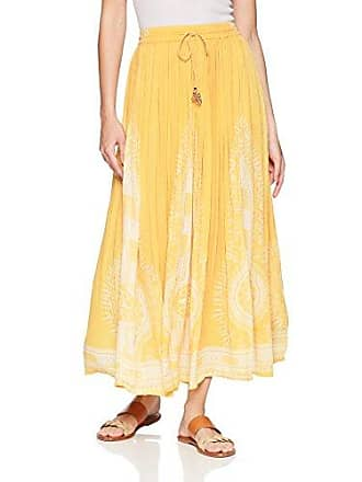 984cbeb82c Chelsea & Theodore Womens Pull ON Skirt with Border, Sunglow Yellow with  White Print,