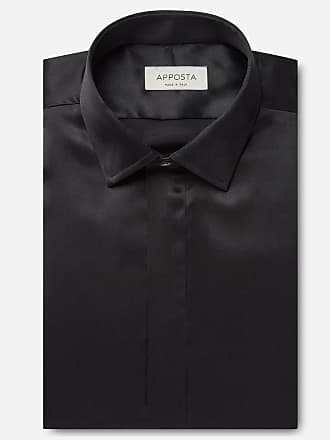 Apposta Shirt solid black silk poplin, collar style updated straight point collar, cuff french cuff (cufflinks)