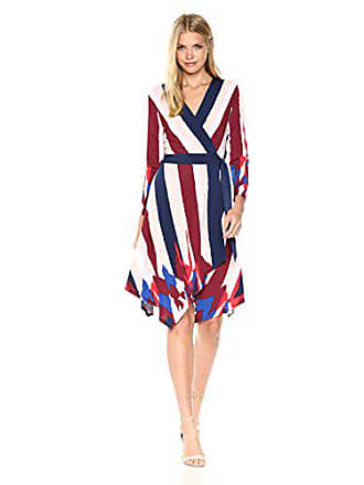 2d0678de592 Bcbgmaxazria BCBGMax Azria Womens Isabella Knit Asymmetrical Striped Wrap  Dress