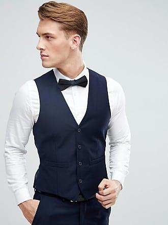 French Connection Peak Lapel Slim Fit Tuxedo Waistcoat-Navy