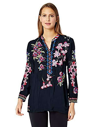 4b0698d7c32 Johnny Was Womens 3/4 Sleeve Embroidered Mandarin Collar Blouse, deep Dawn,  S
