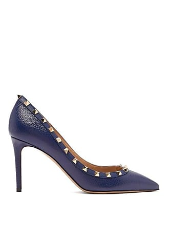 dec7530affb Valentino Rockstud Grained Leather Pumps - Womens - Navy