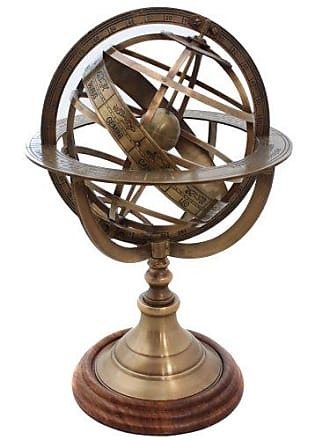 Urban Designs Engraved Brass Tabletop Armillary Nautical Sphere Globe