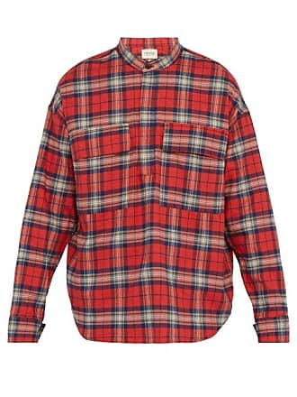 18cd1758 Fear of God Plaid Cotton Flannel Shirt - Mens - Red Multi