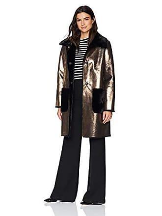 Ellen Tracy Womens Faux Shearling Jacket, Gold, M