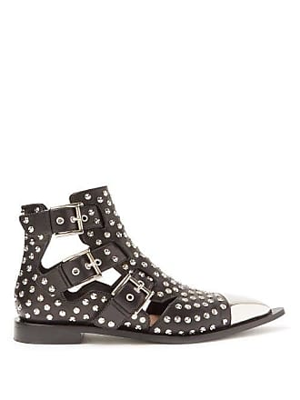 Alexander McQueen Alexander Mcqueen - Studded Leather Boots - Womens - Black Silver