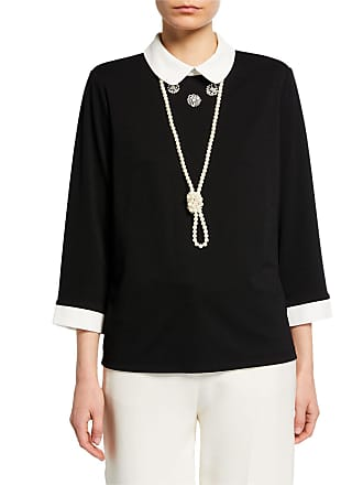 Karl Lagerfeld Peter Pan Collar Top w/ Pearly Necklace
