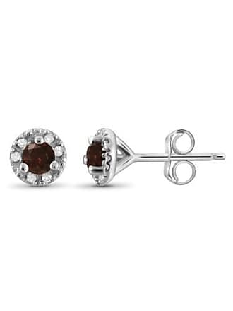 JewelersClub JewelersClub 1/4 Carat T.W. Red and White Diamond Sterling Silver Stud Earrings