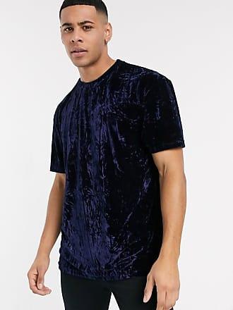 Topman Marineblaues Samt-T-Shirt-Navy