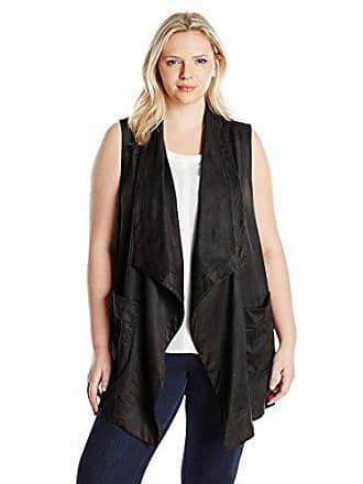 Jones New York Womens Plus Size Faux Suede Draped Collar Vest, Black, 1X