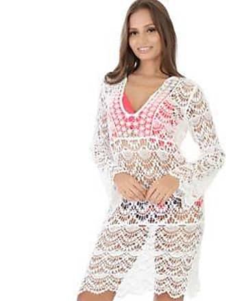Lola Swimwear Vestido de Playa con Guipure en Diseño Floral<br>Blanco