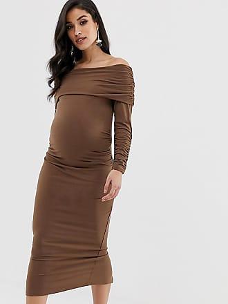 3fb4871547b63 Asos Maternity ASOS DESIGN Maternity Slinky Ruched Midi Dress