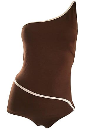 1f1eb681ac Bill Blass 1970s Bill Blass Brown White One Shoulder Vintage One Piece  Swimsuit Bodysuit