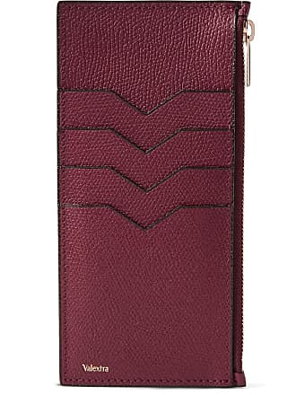 7920b0a7f4e Valextra Pebble-grain Leather Zipped Cardholder - Burgundy