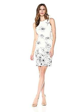 Ivanka Trump Womens Scuba Sleeveless Side Ruched Starburst Dress, Ivory/Navy 6