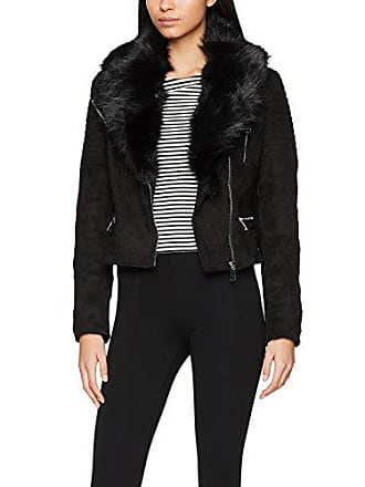 New Look T Fur Collar PU Biker, Blouson Femme, Noir (Black 1) 85864f8cfd81