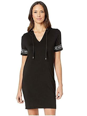 Michael Kors Logo Sleeve Hoodie Dress (Black) Womens Dress