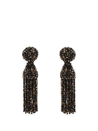 Oscar De La A Beaded Tel Drop Earrings Womens Black